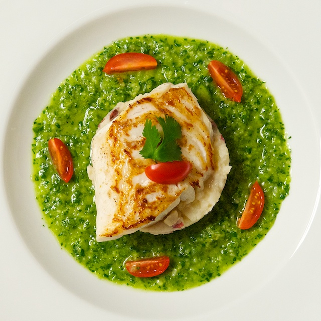 Seared fish with green gazpacho sauce for Sauce for fish